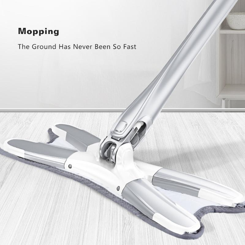 Congis X type Microfiber floor mop with 3pcs mop cloth replace Hand free  wash flat mop Manual Extrusion Household Cleaning Tools Hand Push Sweepers   - AliExpress