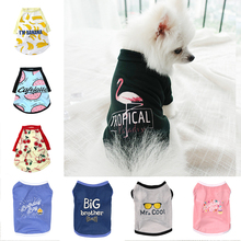Cute Printed Summer Pets tshirt Puppy Dog Clothes Pet Cat Vest Cotton T Shirt Pug Apparel Costumes Dog Clothes for Small Dogs juqi cute rabbit style cotton pet apparel clothes for dog cat pink white size xl