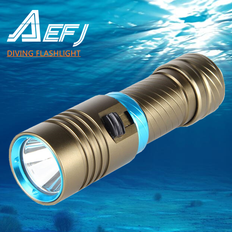 XM-L2 Waterproof Dive Underwater 80 Meter LED Diving Flashlight Torches yellow Lamp Light Camping Lanterna With Stepless dimming