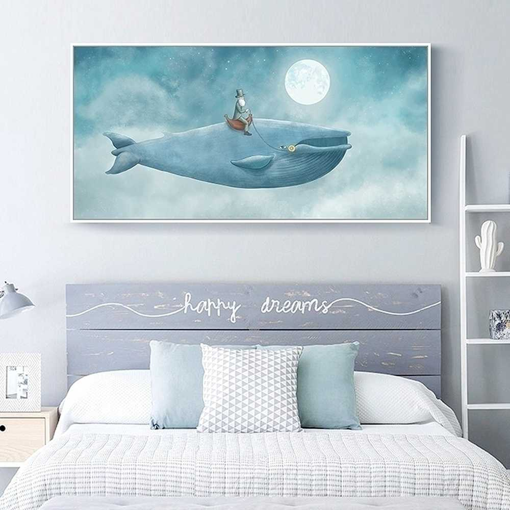 Cartoon The Old Man On The Whale Canvas Painting For Kids Room Decor Wall Art Print And Poster Pictures On The Wall Decor