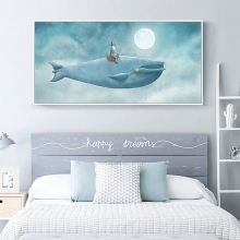 Cartoon The Old Man On Whale Kids Room Decor Landscape Oil Painting Wall Art Cow Canvas Print And Poster