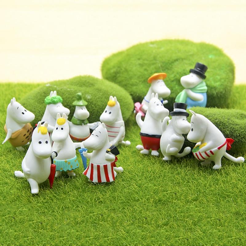 12 Pc Dollhouse Puzzle Cascade Hippopotamus Family Miniature Figures Jenga Micro Layer DIY Landscape PVC Model Creative Toy Gift-0
