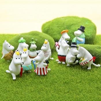 12 Pc Dollhouse Puzzle Cascade Hippopotamus Family Miniature Figures Jenga Micro Layer DIY Landscape PVC Model Creative Toy Gift