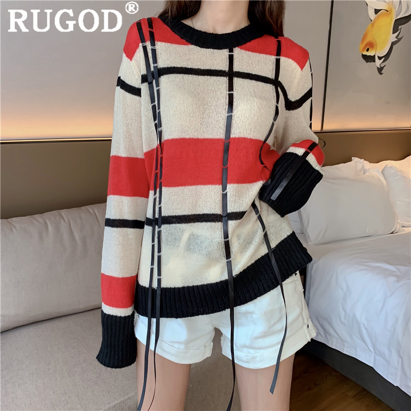 RUGOD Korean chic patchwork knitted women sweater Fashion round neck tassel pullovers 2019 auturm New red femme