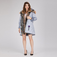 2019 Yiwu Fashion 2 color Winter Jacket Woman Raccoon Dog Fur Collar Fox Fur Parka Warm Fur Coat Latest Design Coat