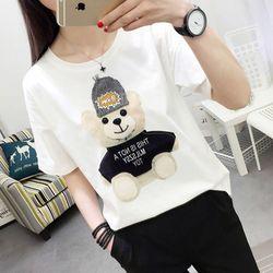 Модная Летняя женская футболка с принтом медвежонка, круглый вырез, короткий рукав, уличный стиль, хип-хоп, черный, wild XL, 200 кг, 2020