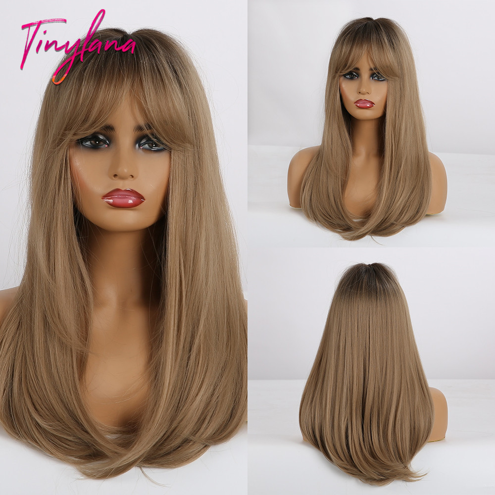 TINY LANA Long Brown Blonde Mixed Color Straight Synthetic Wigs With Bangs For Afro Black And White Women Heat Resistant Party