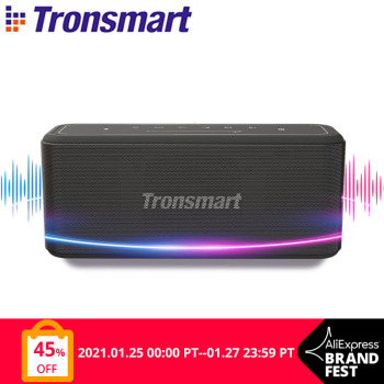 Tronsmart Mega Pro Bluetooth Speaker 60W Portable Speaker Enhanced Bass TWS Column with NFC, IPX5 Waterproof, Voice Assistant