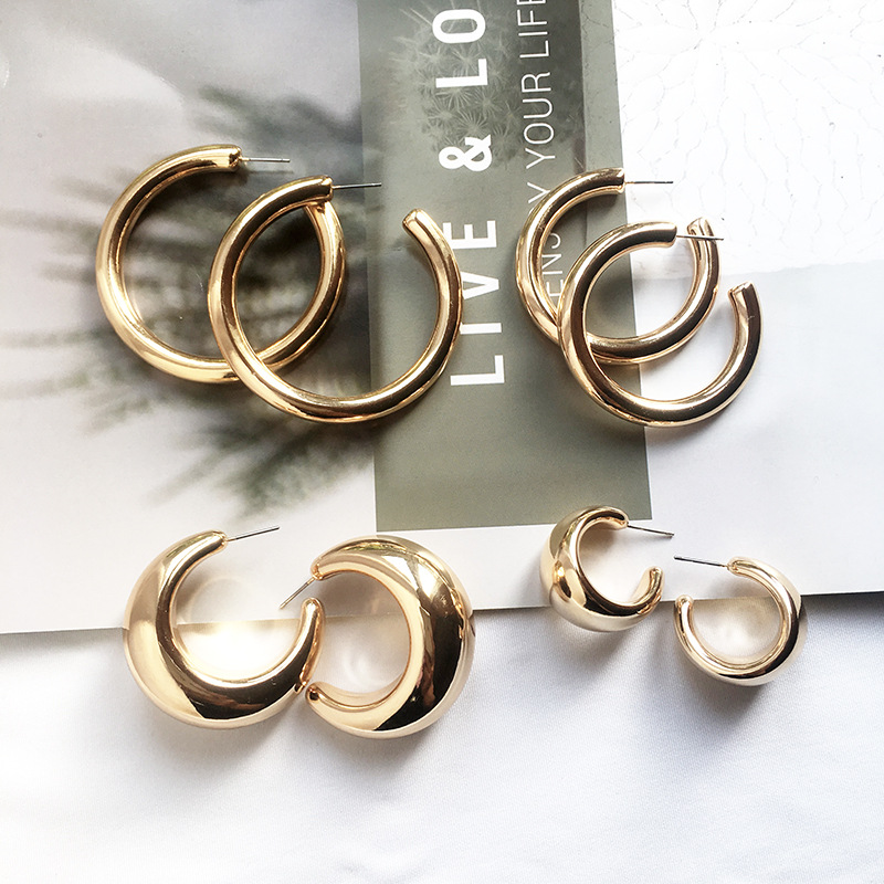 Street Style CC Hoop Chunky Gold Silver Small Big Hoop Earrings For Women Punk Metal Gold Circle Earrings
