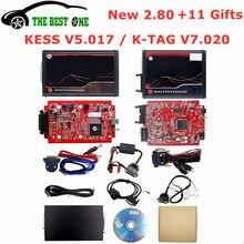 2.80 em linha da ue vermelho kess v5.017 obd2 gerente tuning kit ktag v7.020 4 led bdm quadro 22 pces adaptadores K-TAG 2.25 ecu programador