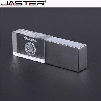 JASTER skoda kristal + metalen USB flash drive pendrive 4GB 8GB 16GB 32GB 64GB 128GB memory U stick u schijf фото