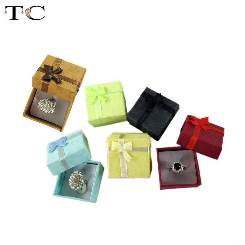 New 1PC 5x5cm High Quality Jewelry Organizer Box Rings Storage Box Small Gift Box For Rings Earrings 6 Colors