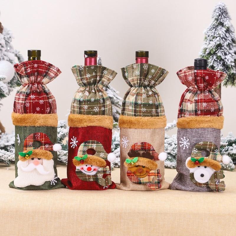 Christmas Bottle Cover Bag Santa Claus Snowman Wine Bottle Decoration Bag Dinner Party Table Decor Xmas Gift Pack of 4