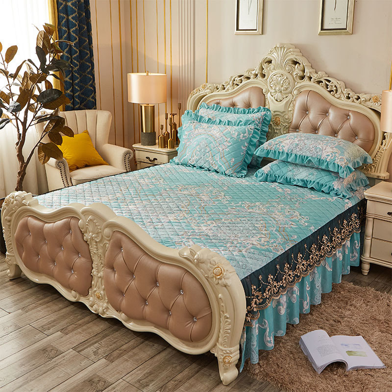 Printed Floral Quilted Cotton Bed Cover King Queen Embroidery Lace Bedspread Velvet Bedskirt Single Double Soft Elastic Sheets