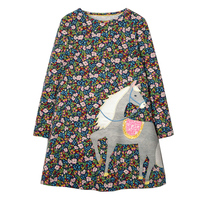 Baby Girls Dress Unicorn Costume for Children Princess Dress Animal Appliques Long Sleeve Kids Floral Dresses for Girls Clothes