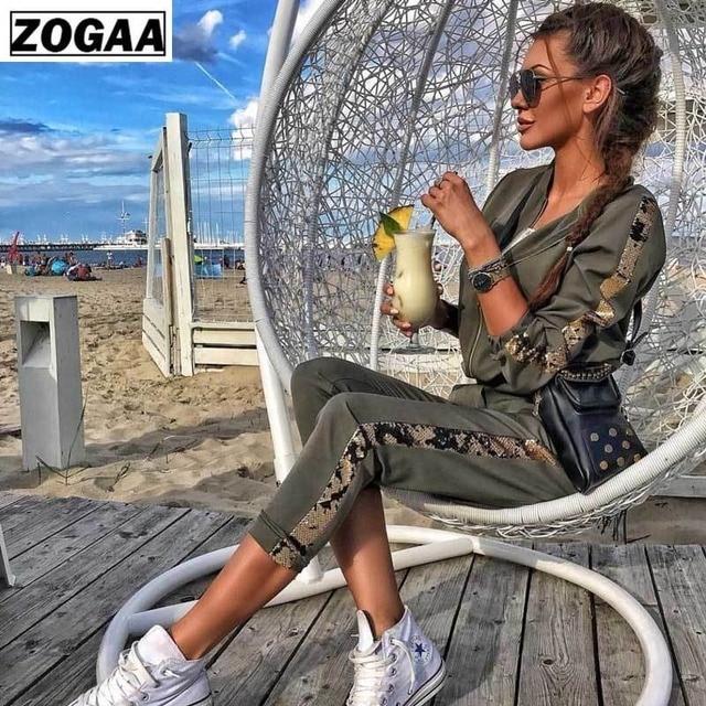 Zogaa 女性トラックスーツカジュアル衣装秋のスパンコールパッチワークジッパー生き抜く女性 2 個セットトップとパンツセクシーな運動着