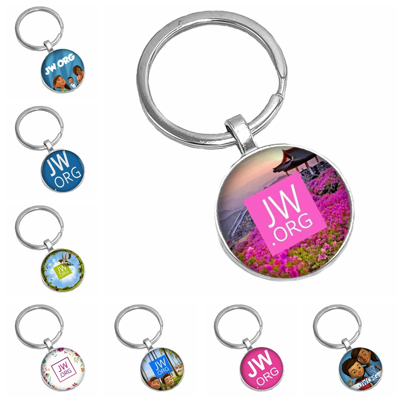 2019 Hot Sale JW.ORG Keychain Fashion Jehovah's Witness And Romantic Elegant Pansy Glass Picture Cabochon Accessories JW Jewelry