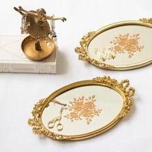 Vintage vid tallada luz lujo vestidor joyero de mesa bandeja de almacenamiento postre Mesa oro espejo bandeja hogar Decoración caja de almacenamiento