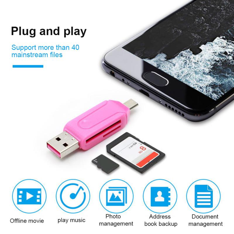 Random Color 1pc 2 In 1 USB OTG Adapter Universal Micro USB TF SD Card Reader Phone Extension Headers Micro USB OTG Converter