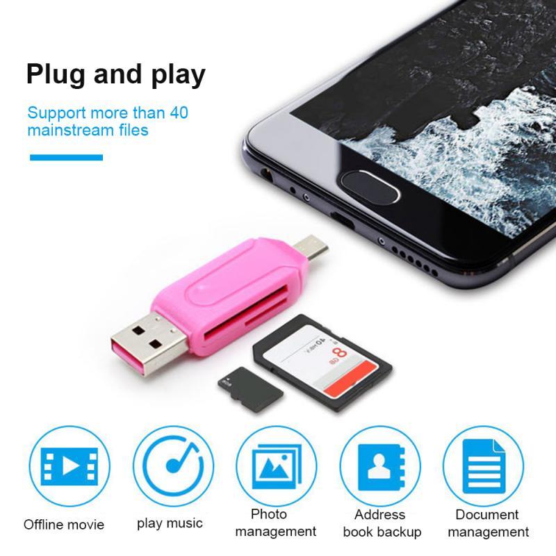 Random Color 1pc 2 In 1 USB OTG Adapter Universal Micro USB TF SD Card Reader Phone Extension Headers Micro USB OTG Converter