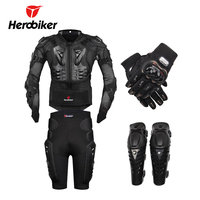 Moto Motocross Racing Motorcycle Body Armor Protective Gear Motorcycle Jacket+Shorts Pants+Protection Knee Pads+Gloves Guard