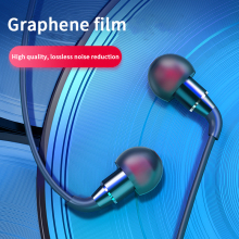 HIFI Stereo Music Earphones In-ear Noise Canselling Graphene Earbuds Mini Wired Metal Bass Headsets Micphone