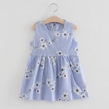 Girls Dress Toddler Girls Summer Princess Dress Kids Baby Party Wedding Sleeveless Dresses 2020 fashion baby girls clothes cheap Print REGULAR Casual Flowers Fits true to size take your normal size Cotton Above Knee Mini A-Line baby girl dress baby girl clothes