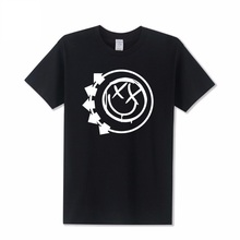 Camisa Blink 182 Rock Band Smiley Face Funny T Shirt For Men Short Sleeve Punk Personalized Roll Pop Music Printed T-Shirt