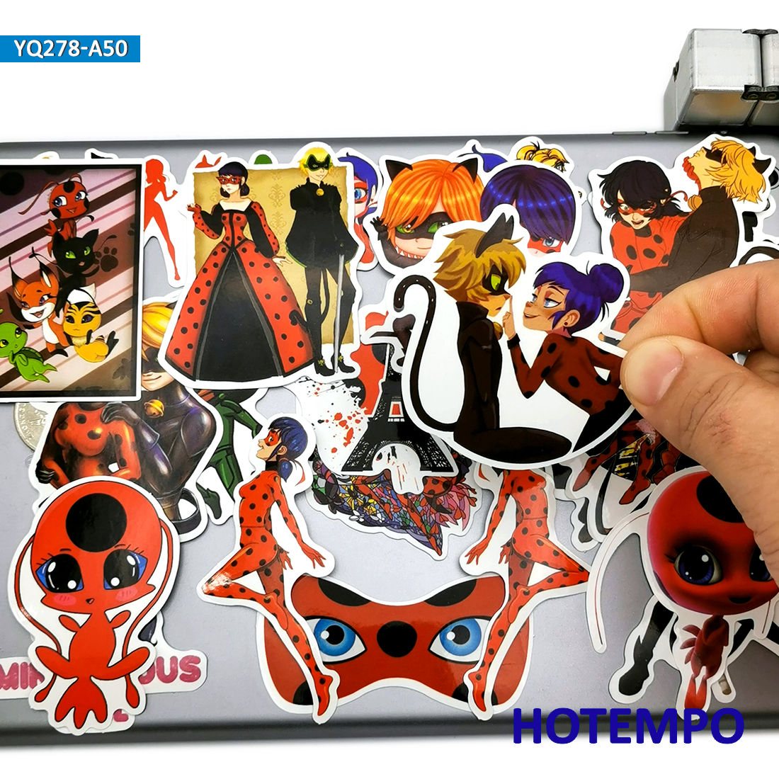 50pcs Cute Ladybug Girl Cat Noir Anime Stickers Toys For Girls Kids Scrapbook Mobile Phone Laptop Suitcase Cartoon Decal Sticker