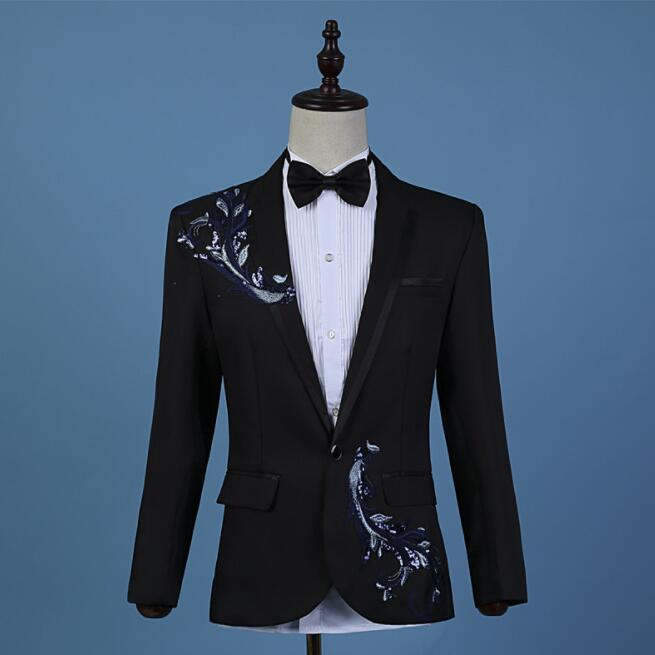 Chorus Embroidery Blazer Men Groom Suit Mens Wedding Suits Costume Singer Star Style Dance Stage Clothing Formal Dress
