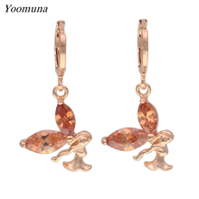 Angel dangle earrings for women cubic zirconia stone crystal drop earrings wedding rose gold 585 earings party jewelry 2019 New gold earrings with topaz and cubic zirconia 725148 sunlight test 585