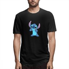 Blue T shirt Lilo And Stitch Drawing Out Mens Short Sleeve T-shirt Overside Tee 100 Cotton print tshirt