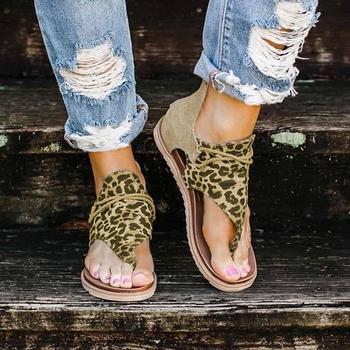 2020 najlepszy sprzedawca-kobiety sandały wzór lamparta duże rozmiary rzymskie sandały damskie antypoślizgowe gorąca sprzedaży kliny letnie buty tanie i dobre opinie Gold Catalpa CN (pochodzenie) Stabilizator na kostkę Klinowe Otwarta RUBBER Med (3 cm-5 cm) Na co dzień Sznurowane Dobrze pasuje do rozmiaru wybierz swój normalny rozmiar