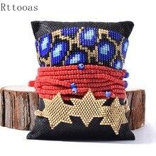 Rttooas Blue Tortoise Pattern Bracelet Miyuki Beaded Charm Bracelets For Women Gold Star Tassel Jewelry Handmade 2020 New