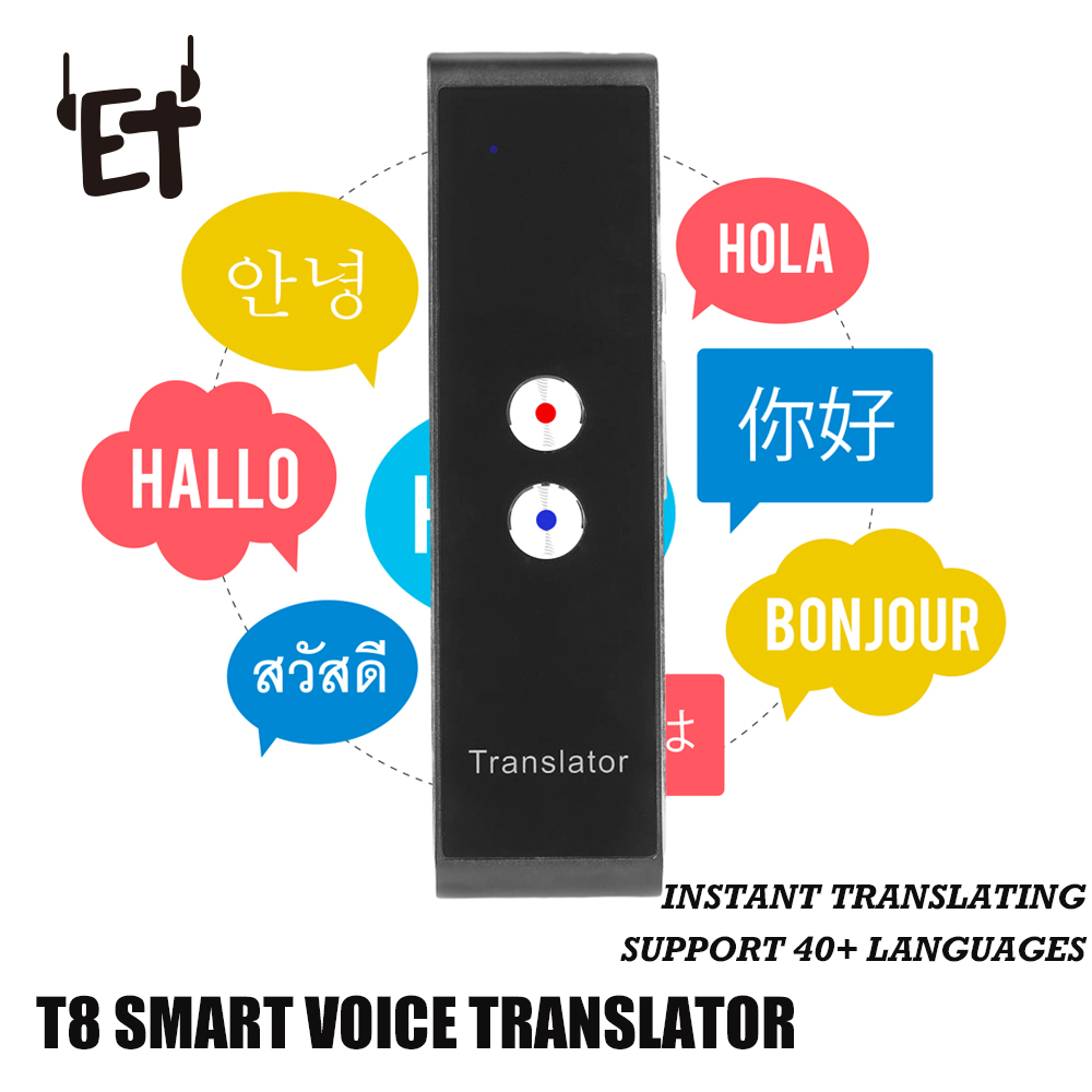 T8 Bluetooth Portable Smart Voice Translator Two-Way Real Time AI Translator Support 44 Languages Text Voice Translator APP image