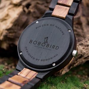 Image 5 - BOBO ptak męskie zegarki Top marka luksusowe heban drewniane zegarek kwarcowy zegarek dla miłośników prezent na rocznicę relojes mujer