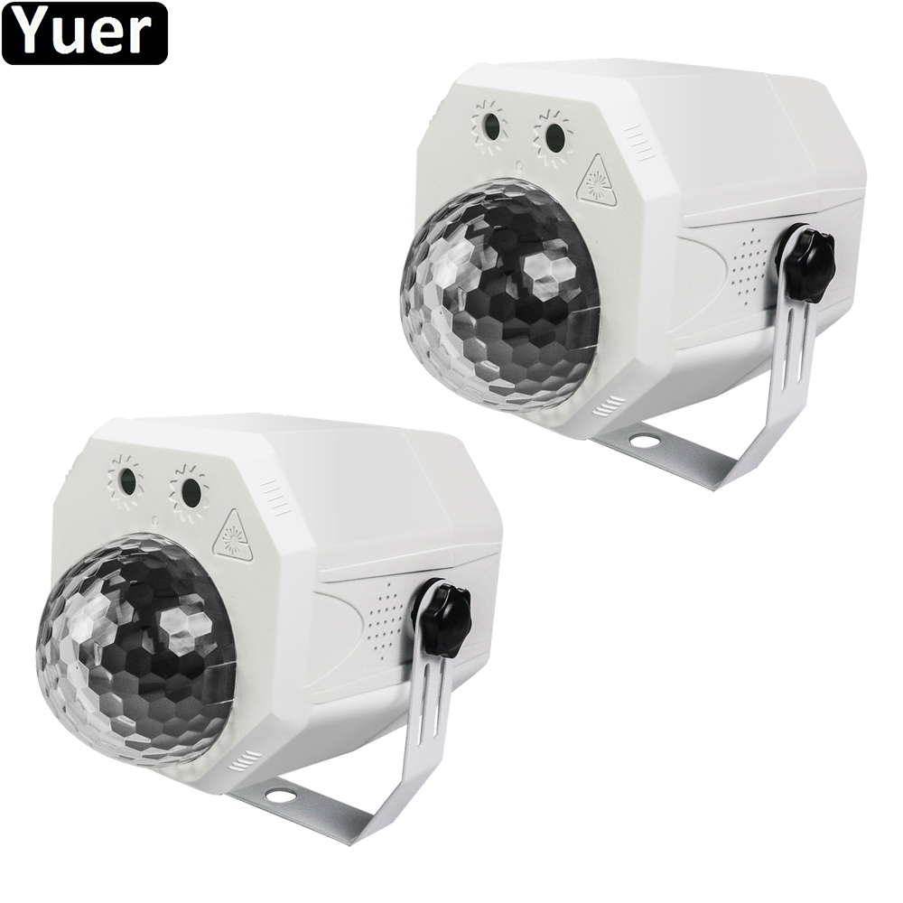 2Pcs/Lot Disco Ball 10W 2IN1 Stage Effect Light Sound Activeted Remote Control Color Music Flashing Dance Club DJ Party Light