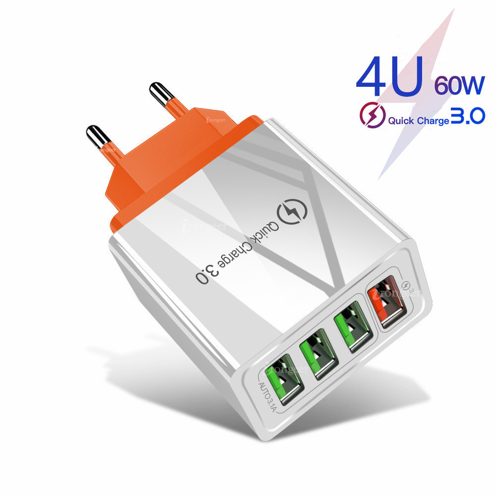 60W Quick Charge 3.0 USB Phone Charger Wall 4 Port QC3.0 Fast Charging Adapter For iPhone X Samsung s9 A50 Xiaomi EU US Charger