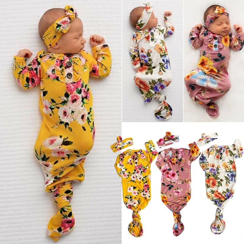 Belle bébé fille fleurs sacs de couchage bandeau ensembles Swaddle chaîne couverture coton vêtements nouveau-né bébé ensembles 0-6mois