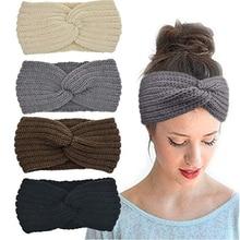 Зимние вязаные повязки, массивный головной убор для женщин, вязаный тюрбан