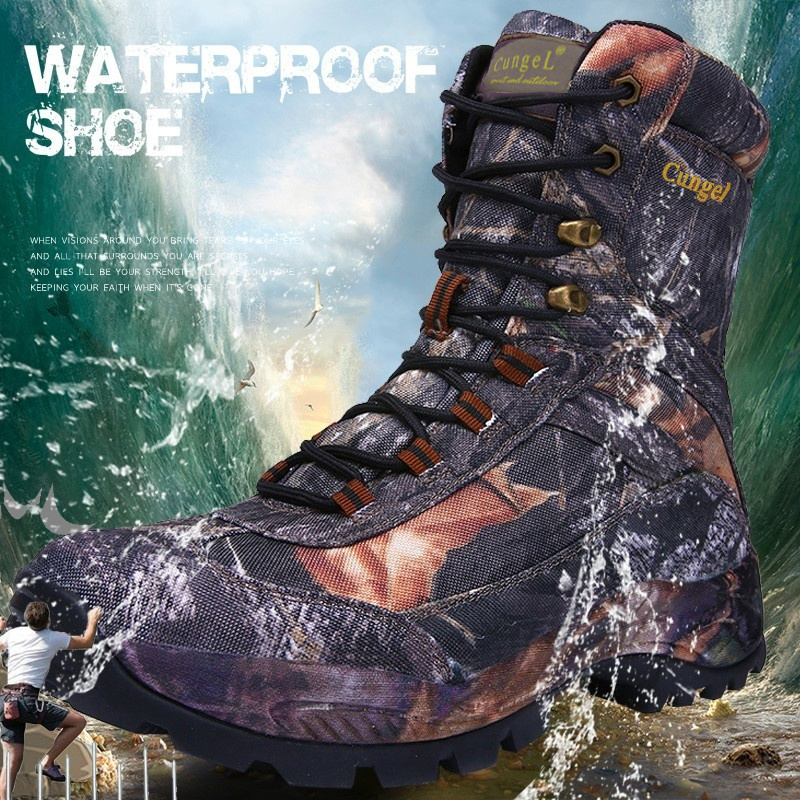 CUNGEl Mens Desert Combat Tactical boots hiking shoes Vintage Lace Up hiking boots Military Army Boots Waterproof hunting boots
