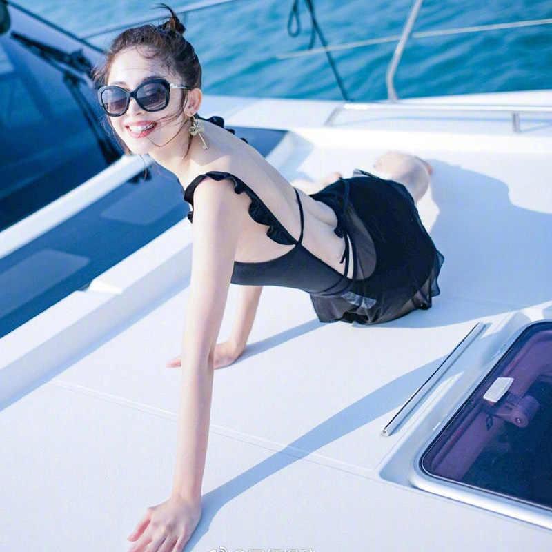 Maille coréen japonais maillot de bain filles dos nu noir une pièce maillots de bain femmes Bikini ensemble Sexy à volants épaule maillots de bain Monokini