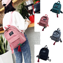 Women Mini Simple Corduroy Backpacks Campus Style Pure Color Leisure Backpacks Women Backpacks School Bag With Tassel#g30 cheap CN(Origin) Softback NONE zipper 1012 Polyester Casual Solid