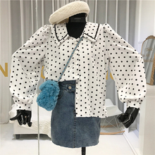 Blouse 2020 Women Vintage Polka Dot Turn-down C