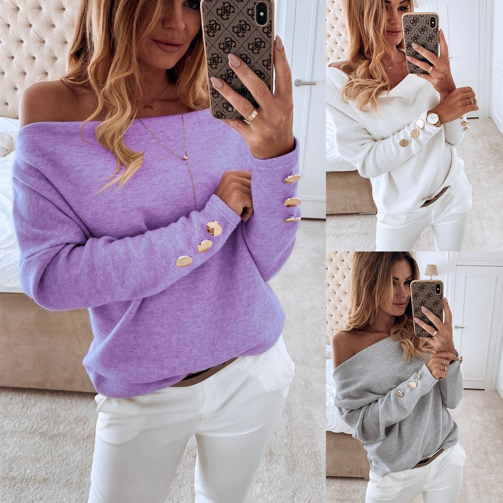 2019  Sexy Off Shoulder Tops And Shirt Sexy Off Shoulder Long Sleeve Solid Color Women Blouse Fall Clothing