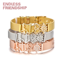 Endless Friendship New Arrival Stainless Steel Woman Lady Bracelet Mesh Set Crystal Heart Anchor Charm Gift