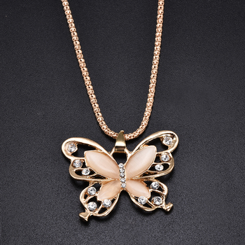 2019 New Fashion Rose Golden Butterfly Chokers Necklaces Cat Eye Stone Long Necklace Women Jewelry Wholesale 3