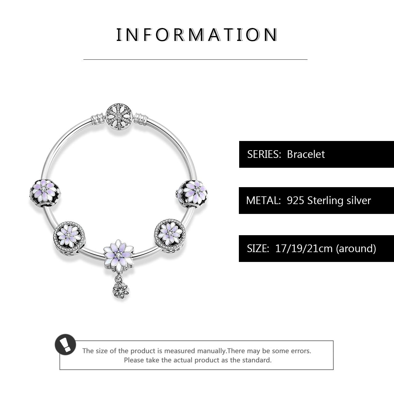 925 argent Sterling glamour fleurs pendentifs Bracelets avec perles en émail violet breloques mode femme Bracelet bijoux de luxe - 3