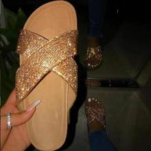 2019 Outdoor Beach Bright Diamond Rhinestone Flat Slippers Summer New Comfortable And Durable Home Sandals