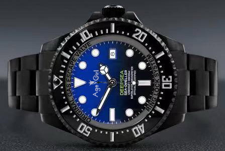 Luxury Brand Men Automatic Mechanical Watch Full Black Case Stainless Steel Ceramic Bezel Crystal Sapphire Gradient Blue Watches
